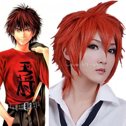 Rulercosplay Heat Resistant Fiber Inspired By Hikaru No Go Tetsuo Kaga Short Red Anime Wigs Wholesal