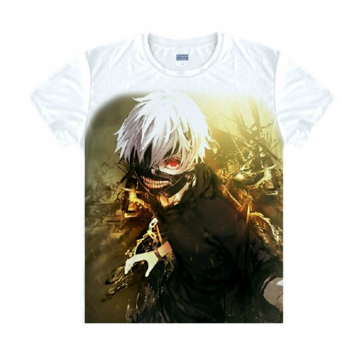 Tokyo Ghoul Fashion Animation White Smooth Decron T-shirt 041 More Patterns