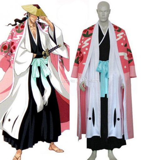 Rulercosplay Bleach 8th Division Captain Kyouraku Shunsui Pink Cosplay Costume Wholesaler Resaler