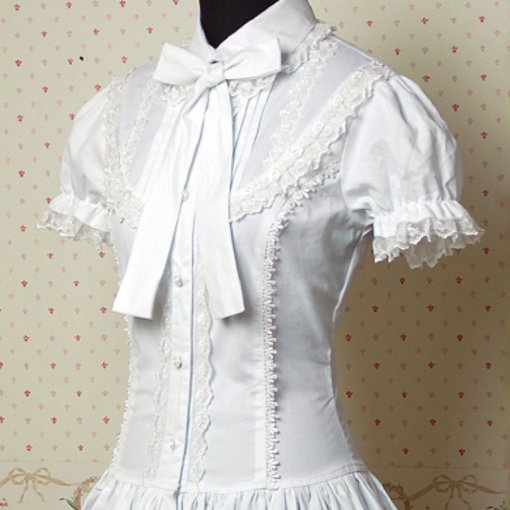 Fashion Waist Bow Lace White Short Sleeve Sweet Women Lolita Blouse