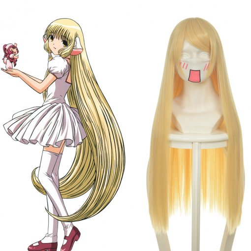 Rulercosplay Heat Resistant Fiber Inspired By Chobits Chii Long Straight Golden Anime Wigs Wholesale