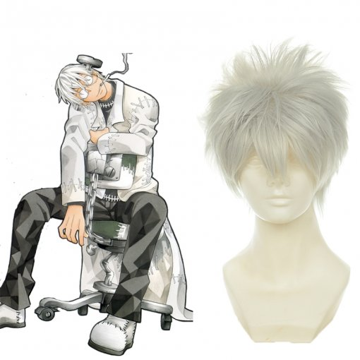 Rulercosplay Heat Resistant Fiber Inspired By Soul Eater Franken Stein Short Gray Anime Wigs Wholesa