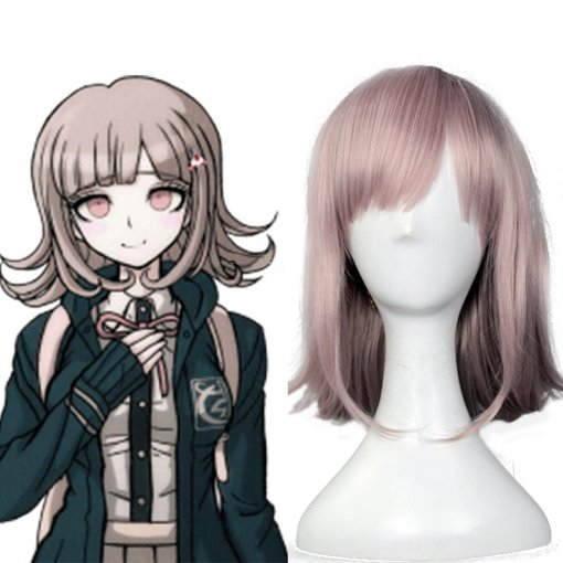 Rulercosplay Heat Resistant Fiber Inspired By Dangan Ronpa Chiaki Nanami Medium Pink Anime Wigs Whol