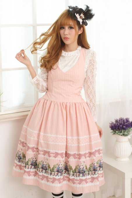 Sleeveless Knee-length Pink Princess Dress Sweet Lolita Dress Customize Anime Cosplay Custome.