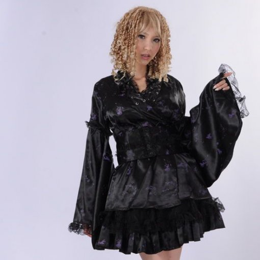 Black Polyamide Knee-length Dress with Lace Long Sleeve Cosplay Punk Lolita Dress