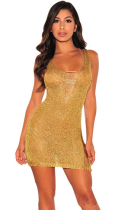 Golden Sexy Short Dress ZS-007