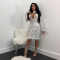 White Sequin Long Sleeve Deep-V Bodycon Dress CM-073