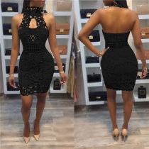 Lace Black Backless Bodycon Dress AL-7467
