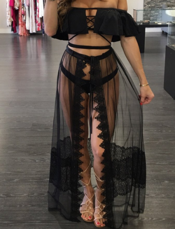Black See Through Maxi Beach Skirts YS-8178
