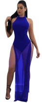 Blue Backless High Slit Maxi Bodysuit Dress SH-3194