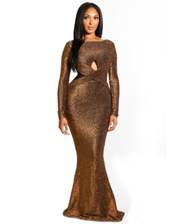 Brown Backless Hollow Out Long Evening Dresses LS-0227