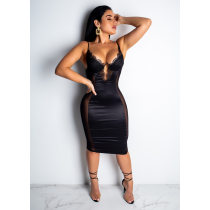Sexy Mesh Lace Patchwork Spaghetti Strap Club Dress CHY-1135