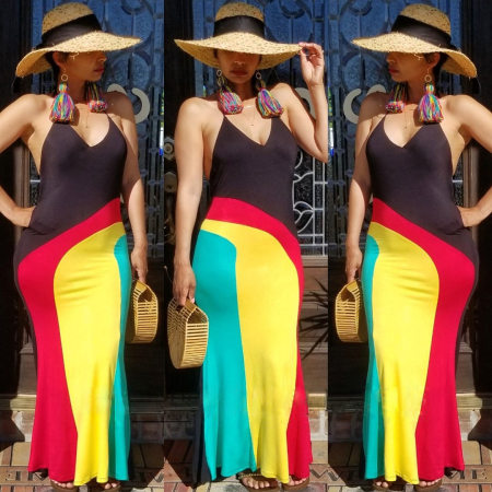 Contrast Color Patchwork Halter Backless Slim Maxi Dress AIL-034