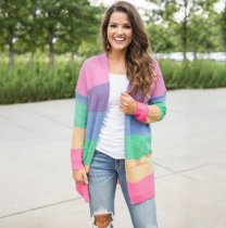 Rainbow Stripe Sweater Knitted Long Cardigan Coat VD-3048