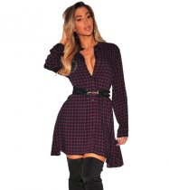 Red Plus Size Checked Plunge Shirt Dress SMR8781