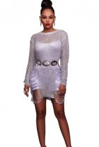 Sliver Hollow-Out Sexy Sweater Dress ZS-Z002
