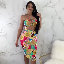 Multi Hollow Out Print Bandage Dress PN-6040