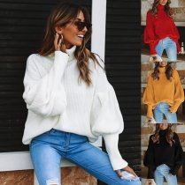 Solid Color Long Sleeves Turtleneck Loose Sweater VD-3039