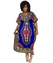 Blue African Print V Neck Dashiki Dress CY-1558