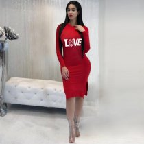 Red Hooded Bandage Dress YN-926