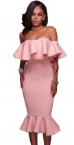Pink Off Shoulder Midi Dress WLS-1713