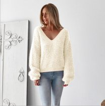 Solid Color Long Sleeves V Neck Loose Sweater Tops VD-3037