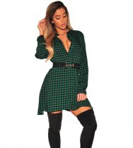 Green Plus Size Checked Plunge Shirt Dress SMR8781