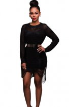 Black Hollow-Out Sexy Sweater Dress ZS-Z002