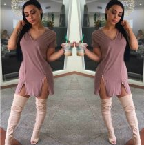 V Neck Zipper Split Solid T Shirt Dress DAI-8020
