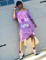 Purple Letter Print One Shoulder T Shirt Dress YN-9007