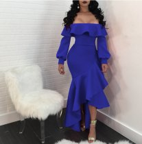 Off Shoulder Blue Ruffle Cocktail Dress LUO-6034