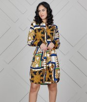 Printed Long Sleeves Turn Down Collar Shirt Dress CY-1656