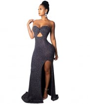 Solid Strapless Hollow Split Long Party Dress ZS-0150