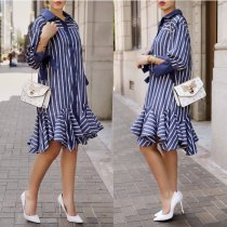 Striped Ruffles Hem Shirt Dress YSF-175