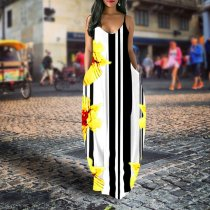 Floral And Stripe Print Bohemian Maxi Dresses ME-7102