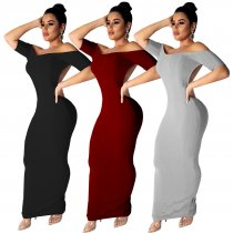 Sexy Short Sleeve Backless Maxi Dress TE-3654