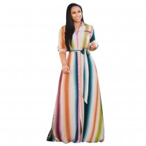 Colorful Stripe Three Quarter Sleeve Long Dresses FNN-8201