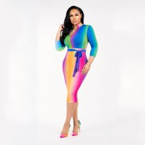 Rainbow Color Long Sleeve Bodycon Midi Dress SH-3510