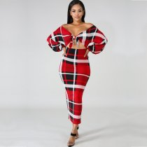 Plaid Print Long Sleeve Off Shoulder Long Dress MN-3029