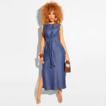 Sleeveless Side Split Denim Maxi Dresses ZS-0178