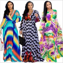 Printed V Neck Long Sleeve Big Swing Maxi Dress NK-8380