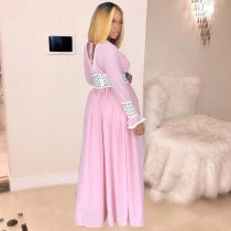 Pink Deep V Neck Long Sleeve Maxi Dresses MEM-8203