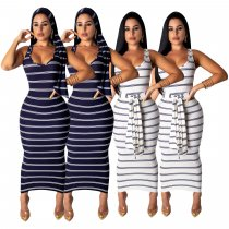 Sexy Striped Sleevelss Slim Fit Long Dresses SHD-9126