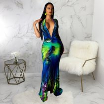 Sexy Printed Deep V Neck Sleeveless Mermaid Maxi Dress SMR9233