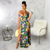 Sexy Printed Off Shoulder High Split Maxi Dresses SMR9259