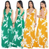 Printed V Neck Sleeveless Maxi Dresses NK-8355