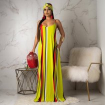 Striped Spaghetti Strap Loose Maxi Dress With Headscarf ARM-8087