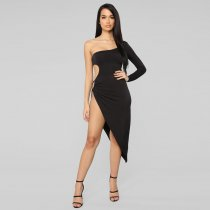 Sexy Strapless Tie Up High Split Irregular Club Dresses YF-9375