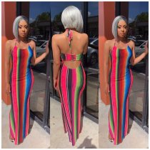 Colored Striped Sexy Halter Slim Fit Maxi Dresses OD-8253