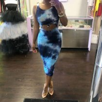 Tie Dye Print Sleeveless Bodycon Midi Dresses IV-8005